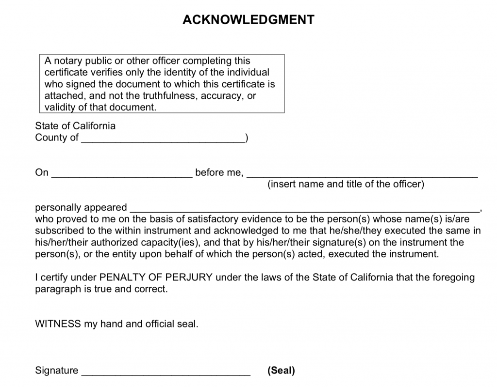 Notary acknowledgment